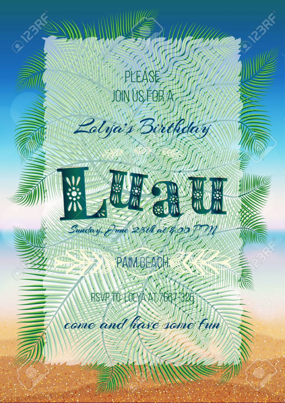 Hawaiian party luau feast poster flyer invitation template with hawaiian party luau feast poster flyer invitation template with sunny beach sea stopboris Images