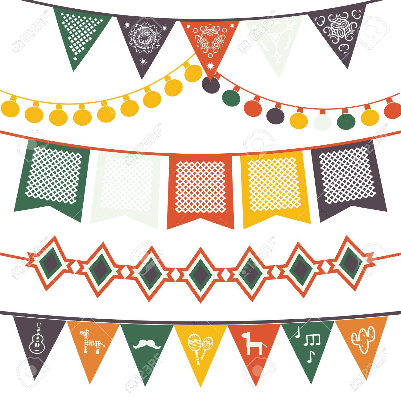 hanging festive mexican banners flags electric lights garlands rh 123rf com