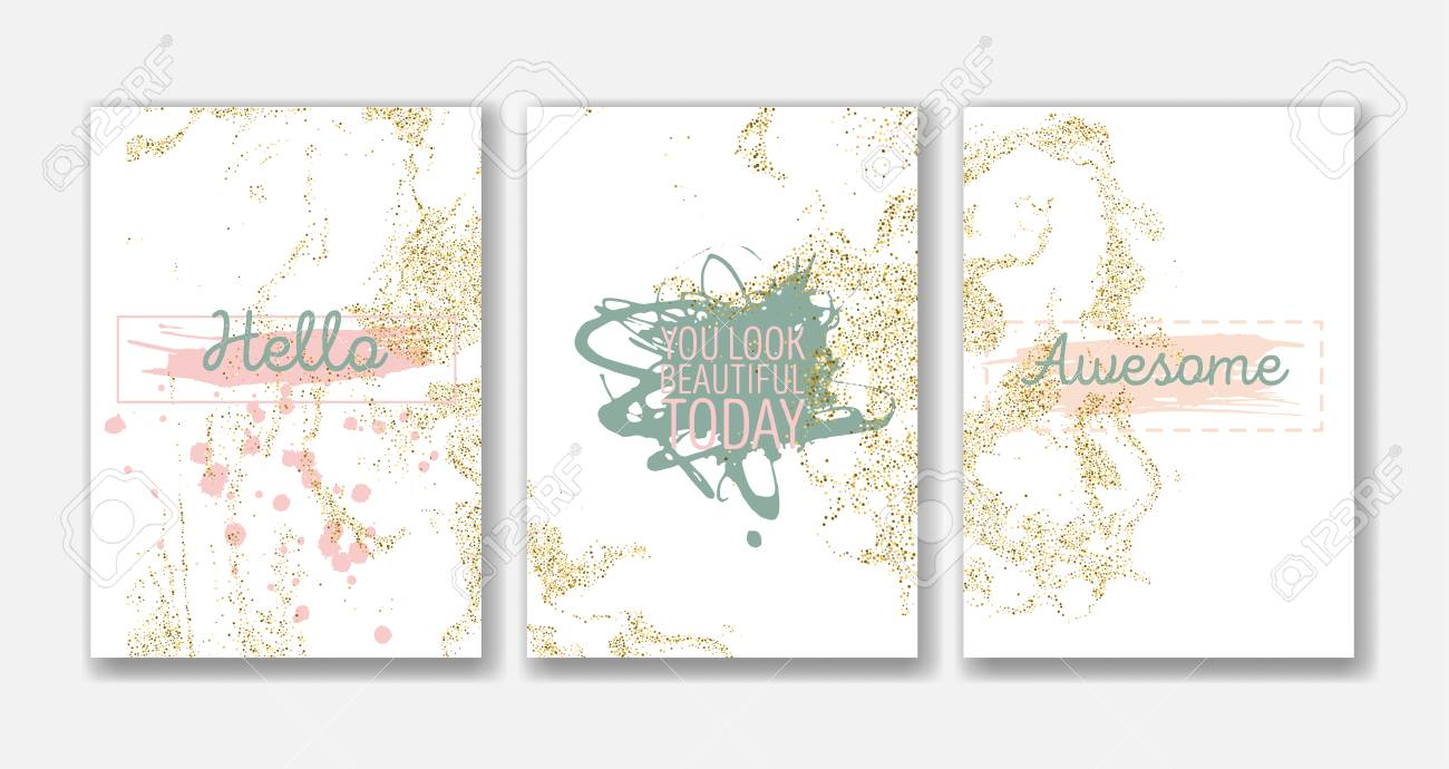 Ensemble De Modeles De Cartes Vierges En Or Blanc Idealement Pour Save The Date Baby Shower Jour De Valentines Invitations De Noel Couverture De