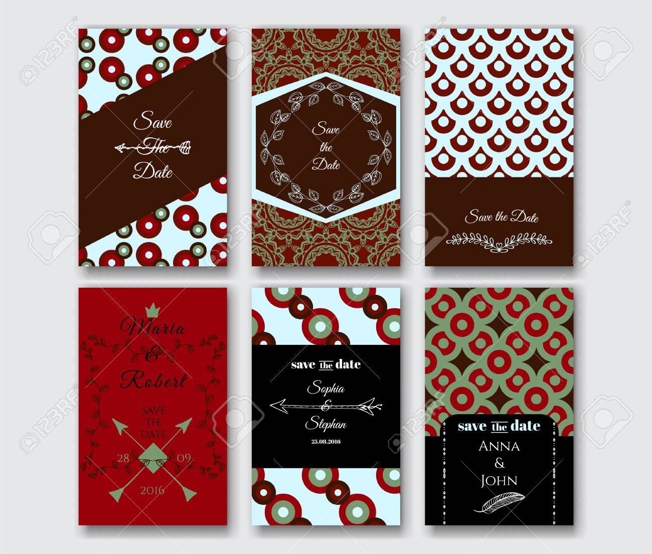 Set Of The Card Templates For Save Date Birthday Invitation