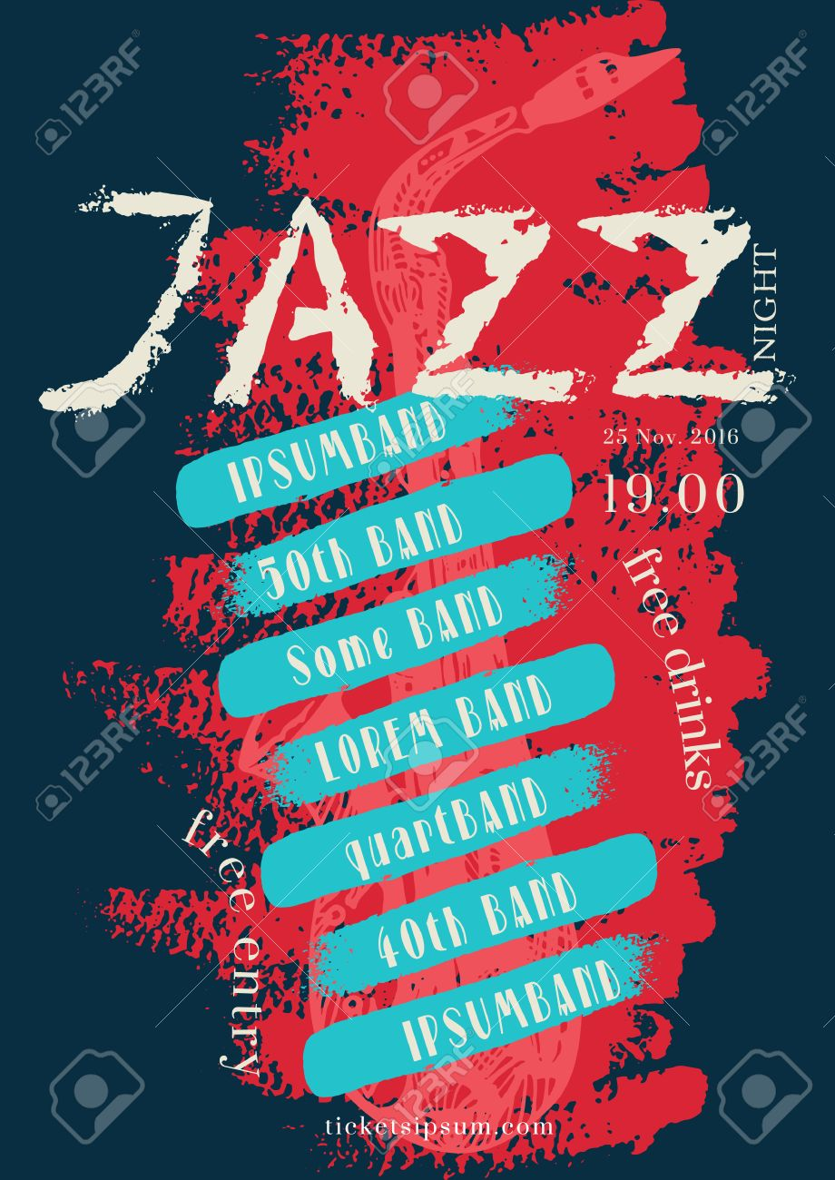 vector jazz rock or blues music poster template hand painted