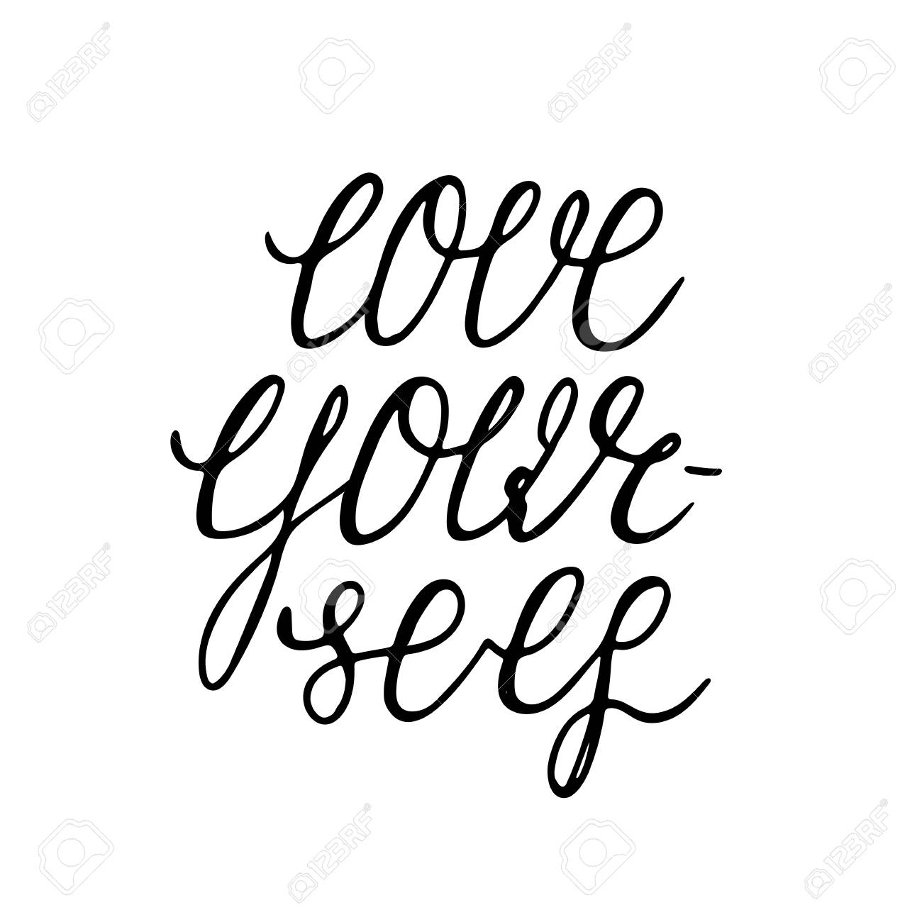 Love Yourself   Hand Sketched Ink Pen Lettering. Inspirational Motivational  Quote For The Card,