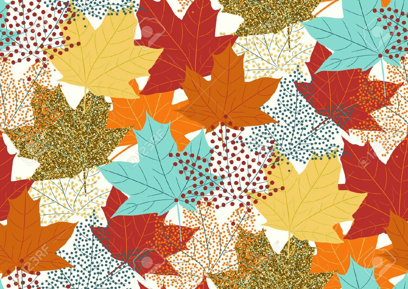 maple leaves seamless pattern flat design template vector