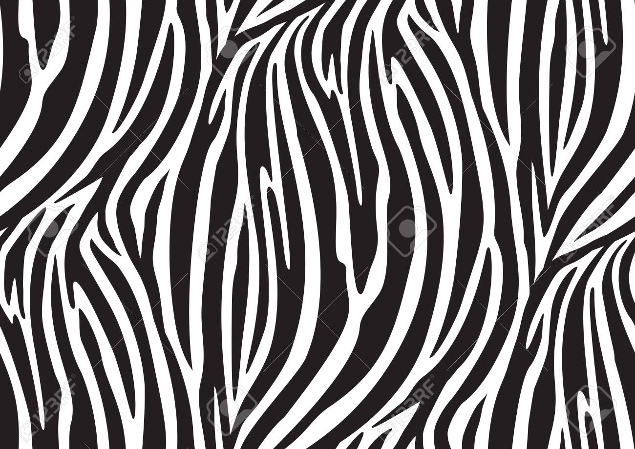 Zebra seamless pattern in abstract style on black background. Vector illustration. Camouflage. Seamless swatch in the swatches panel - 149058503