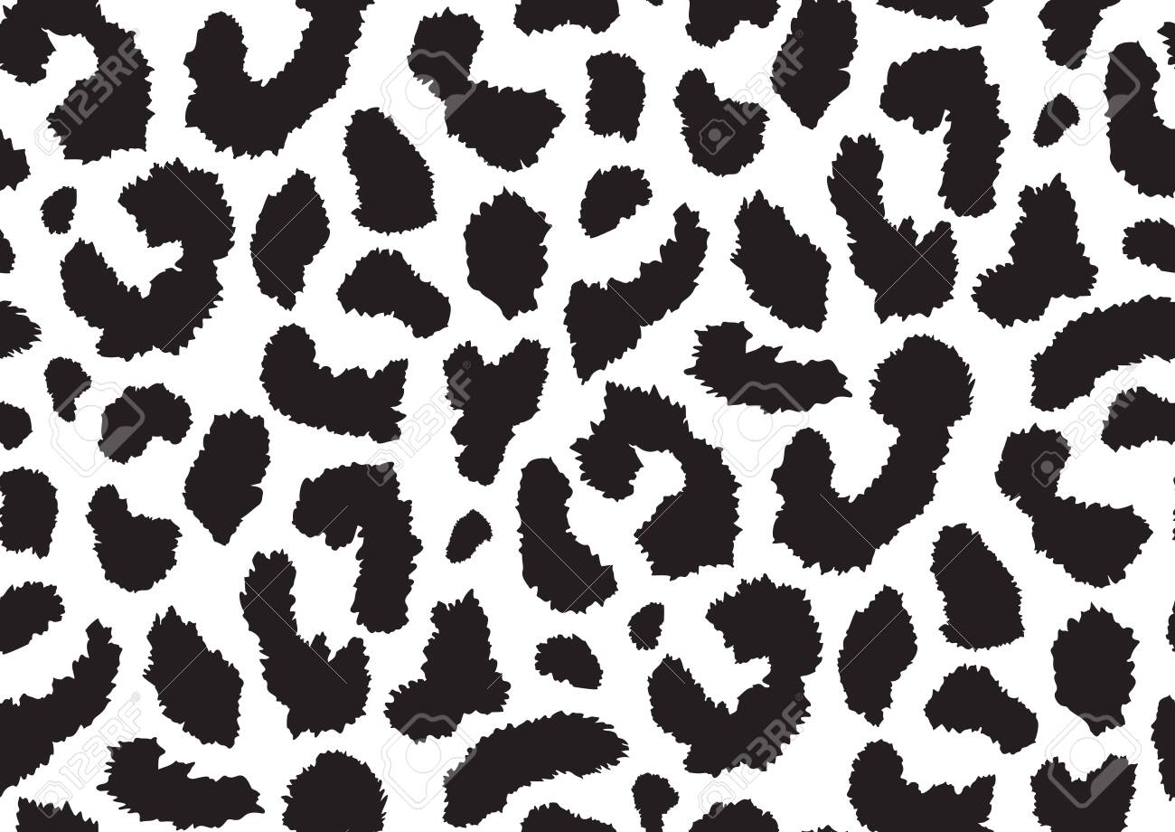 Abstract styled animal skin leopard seamless pattern design. Jaguar, leopard, cheetah, panther fur. Black and white seamless camouflage background. - 149328879