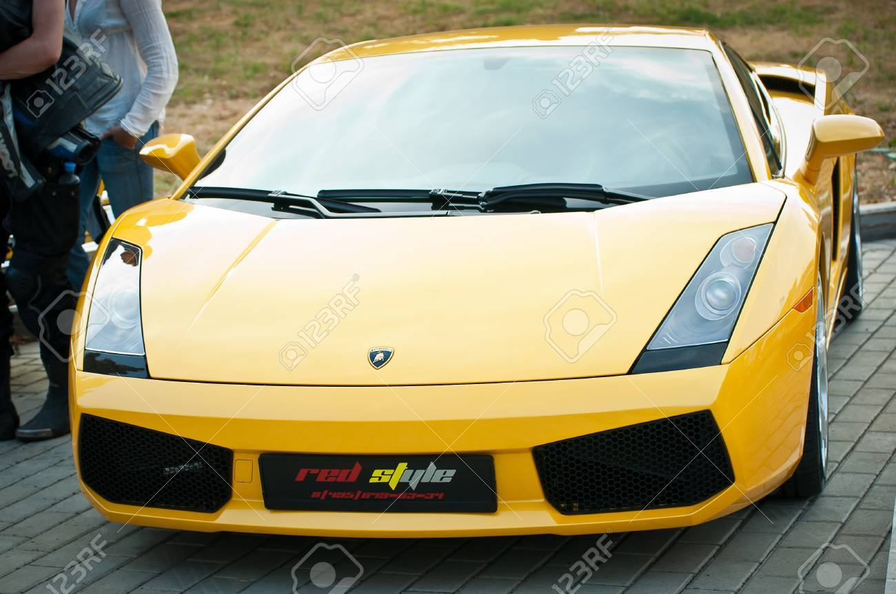 Moscow Russia July 31 Yellow Lamborghini On Exhibition Parking Stock Photo Picture And Royalty Free Image Image 9564559