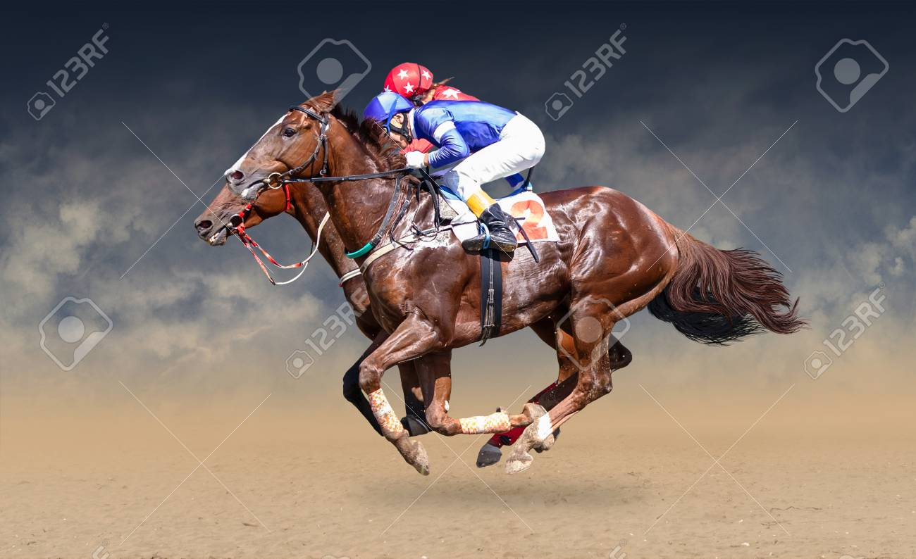 Two racing horses neck to neck in fierce competition for the finish line - 88296252