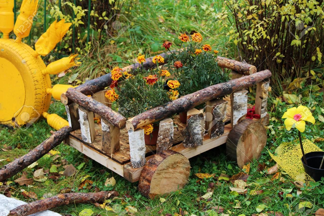 Beautiful Decorative Flowerbed Garden Decor Cart Outdoors Stock