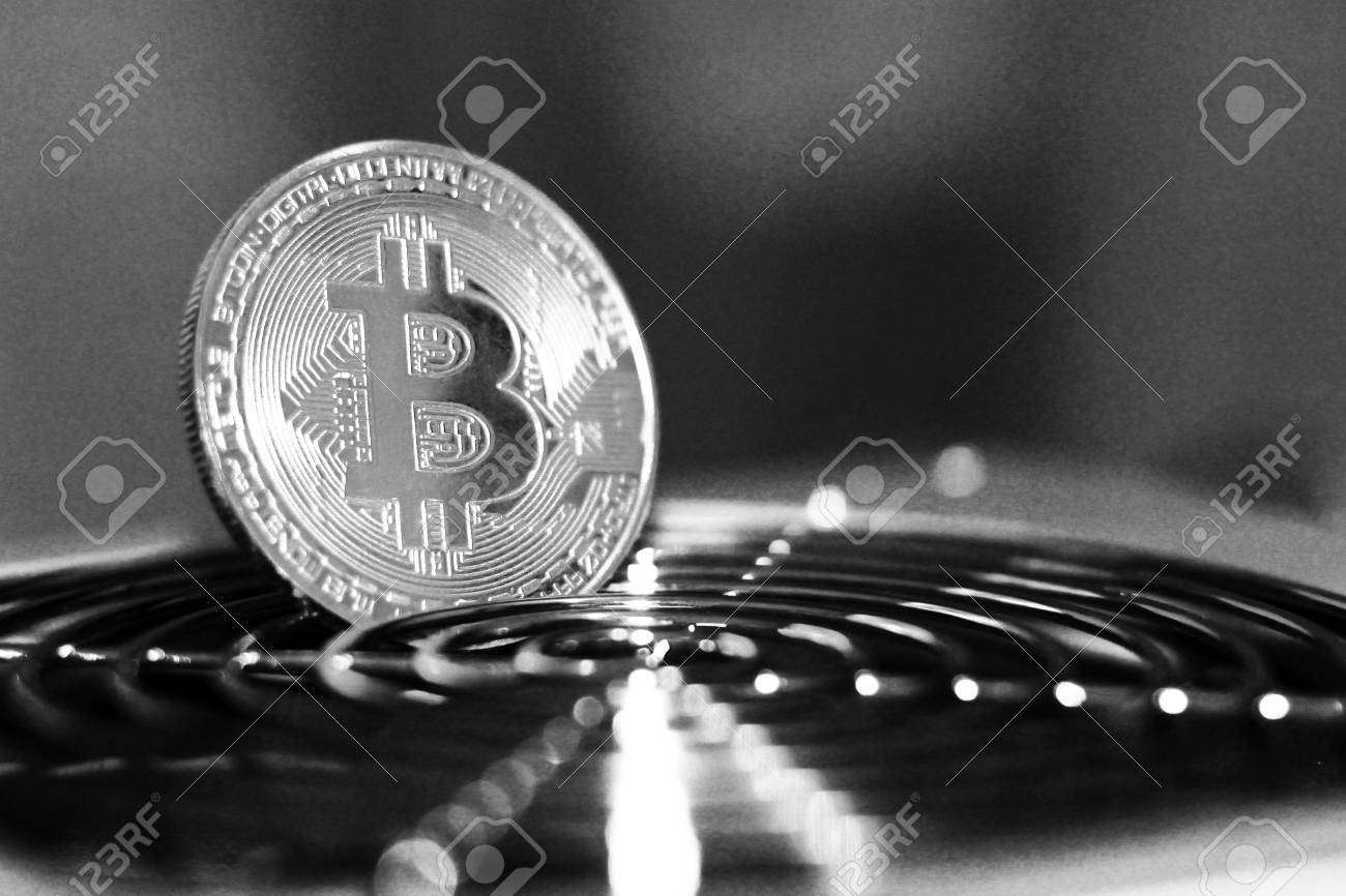Golden Bitcoin Virtual Currency On A Circuit Board Background Where Are The Gold And Silver Boards Object Stock Photo 96570085