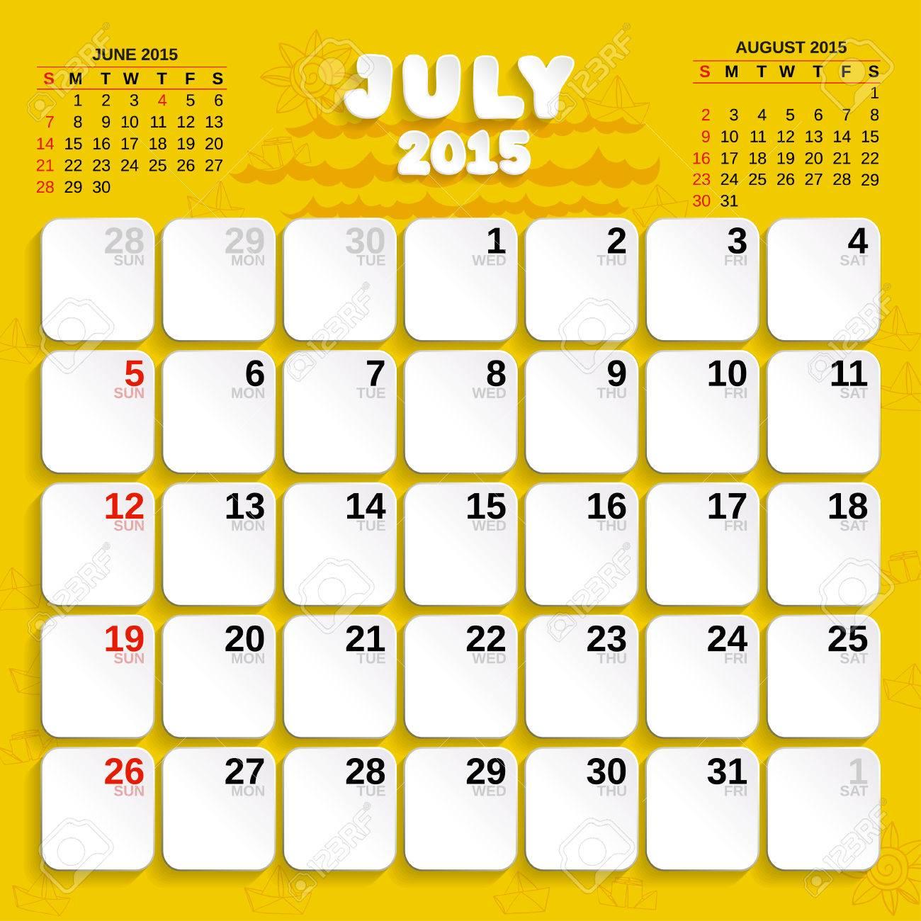 month calendar july 2015