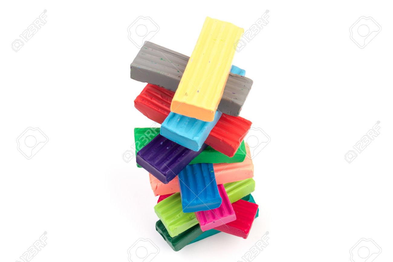Children bright colorful plasticine isolated on white background - 162235210