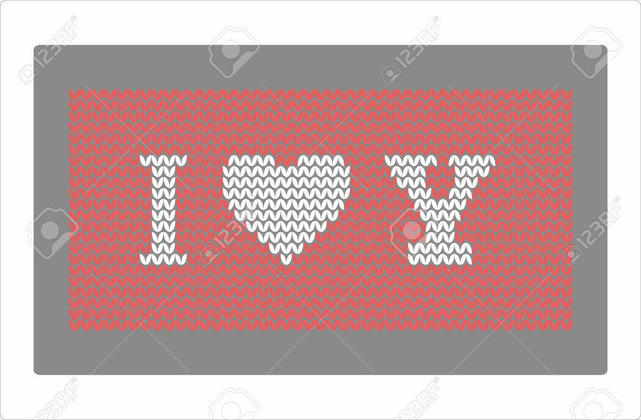 Knitting Heart Pattern I Love You Royalty Free Cliparts, Vectors ...