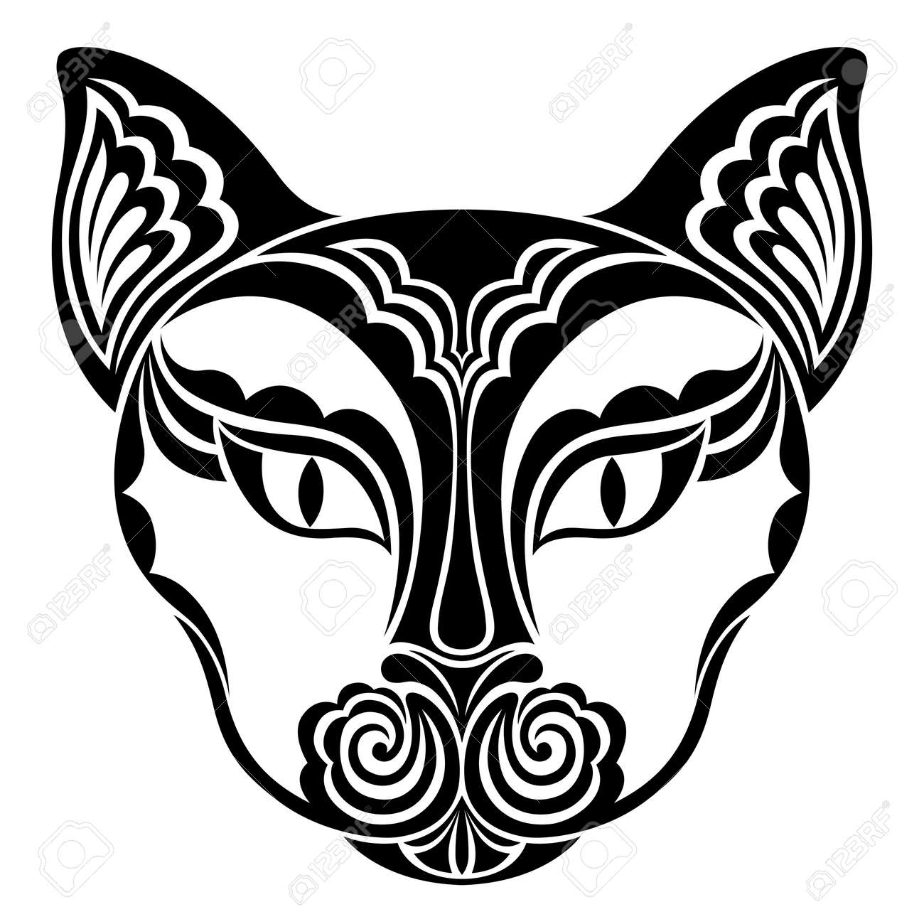 Cat. Vector decorative animal head. Suitable for Halloween celebration. Black and white hand drawn tattoo. Stylized graphics for t-shirts, postcards, textiles. Isolated on white background. - 152834721