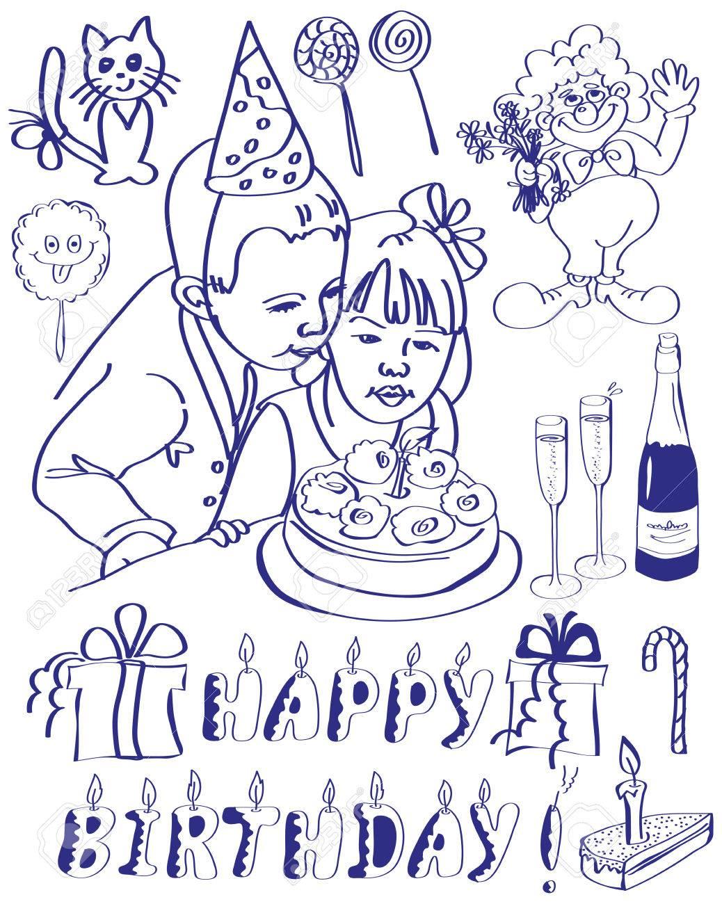 Zeichnen Auf Dem Tablett Attribute Geburtstag Auf Einem Weissen