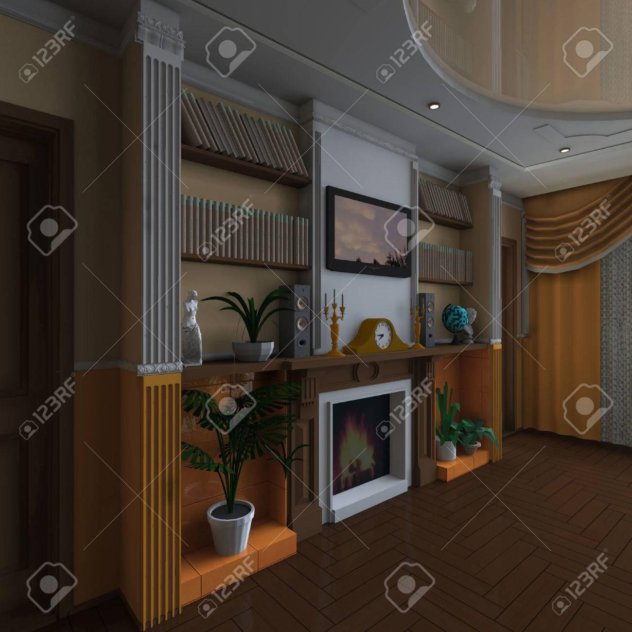 Diseño Interior Clásico Salón Con Chimenea. Fotos, Retratos ...