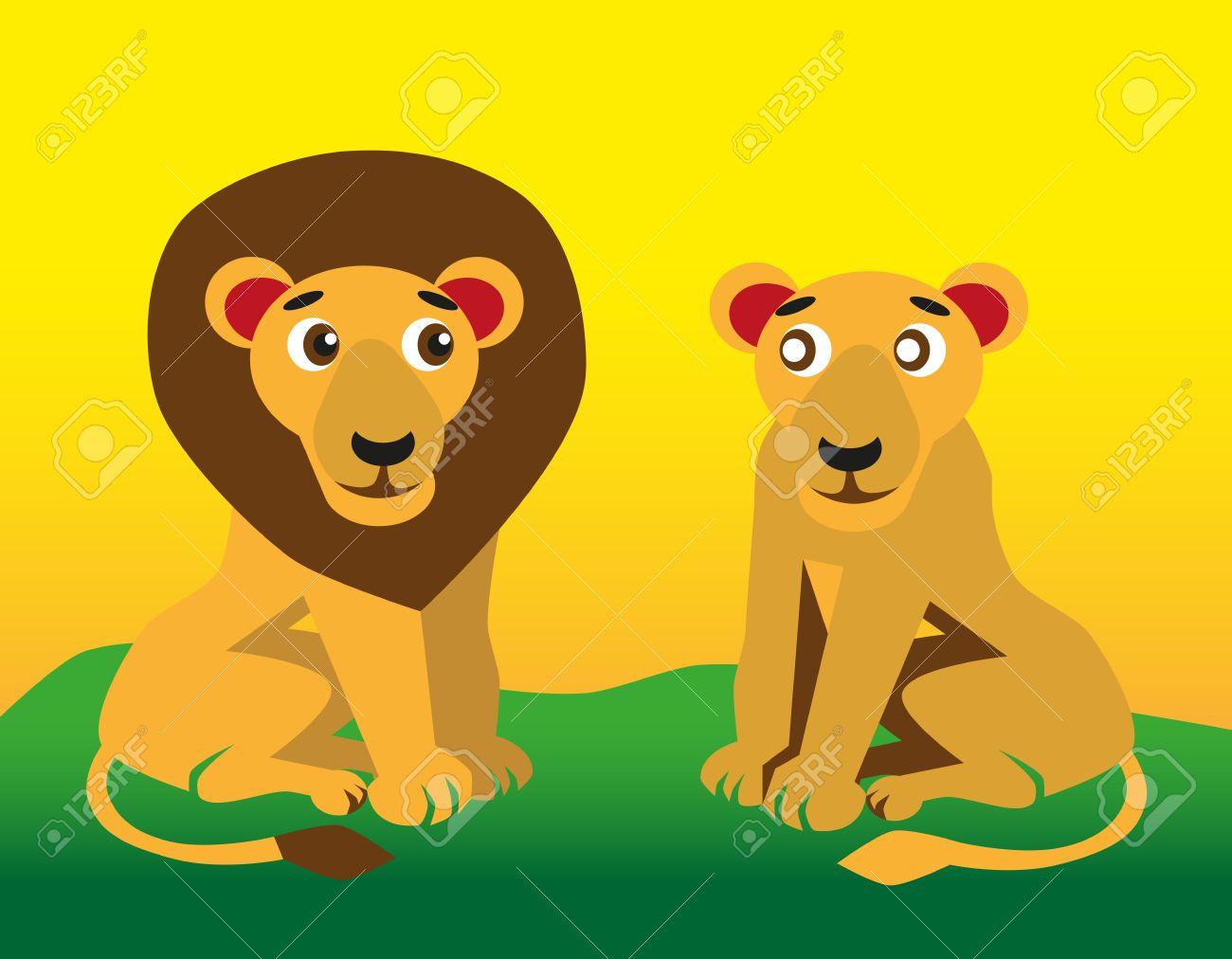 Imagen En Color De León Divertido Animal Del Dibujo Animado Y La