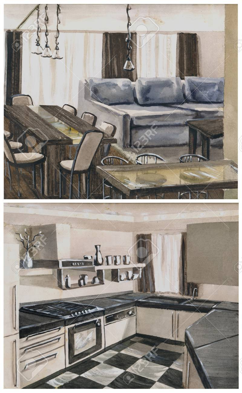 Watercolor Sketch Of An Interior Hall Dining Room And Kitchen Stock