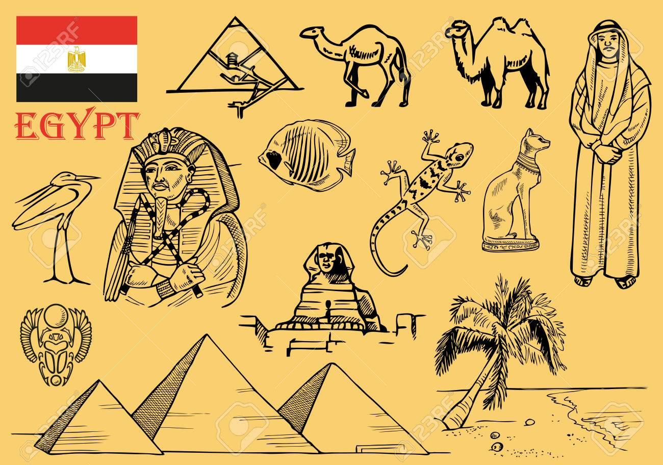 Zeichnungen Zum Thema Agypten Architektur Flora Und Fauna Die