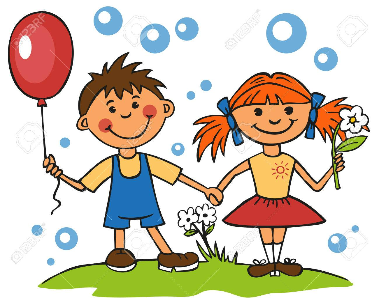 girl with flower and balloon boy holding hands royalty free cliparts rh 123rf com