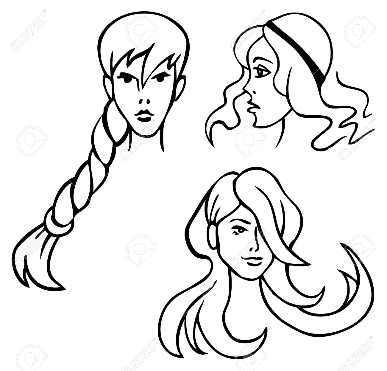 Drawing Head Of Beautiful Women With Different Hair Style On