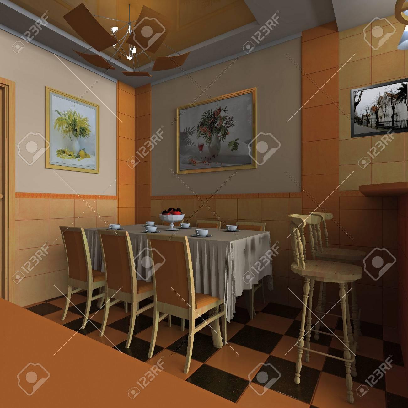 Clásico Comedor Diseño De Interiores, Cocina Con Barra Fotos ...