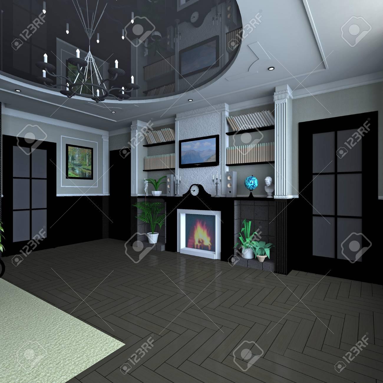 Classique Intérieur Salon De Conception Chambre Moderne Avec ...