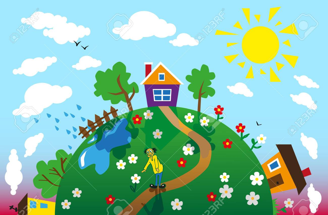 Image of the earth at different times of the day with houses and trees. - 45356820
