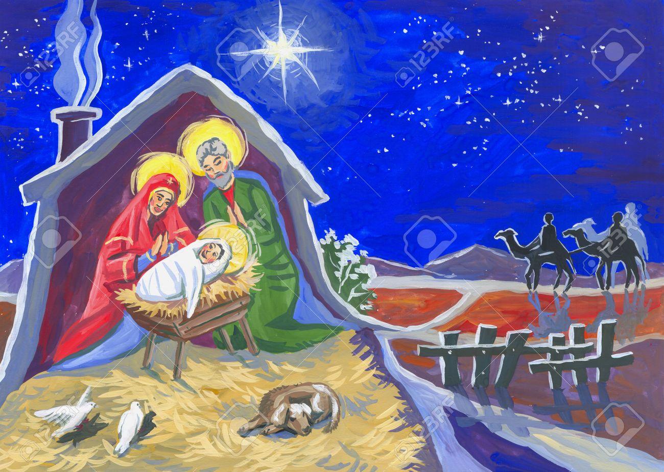 Illustration Couleur Nuit étoile De Noël Et Un Bébé Né Dans Une étable Le Dessin D Enfant