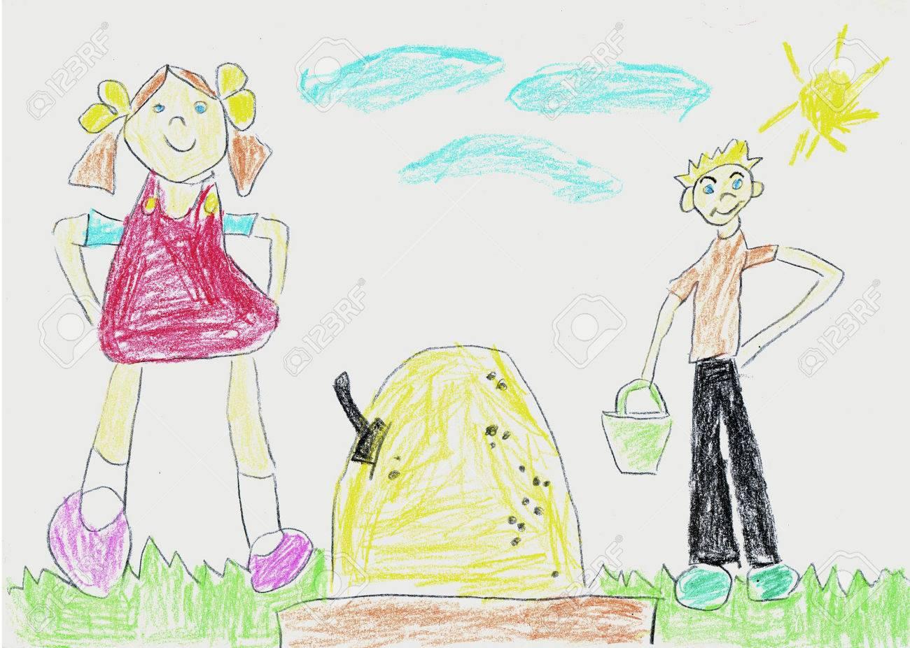 バケツとサンド ボックスで遊んで女の子と男の子のイラストです 子供色鉛筆を描画 の写真素材 画像素材 Image