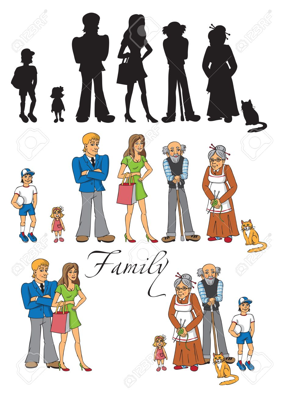 illustration of a big family - mom, dad, grandma, grandpa, son,