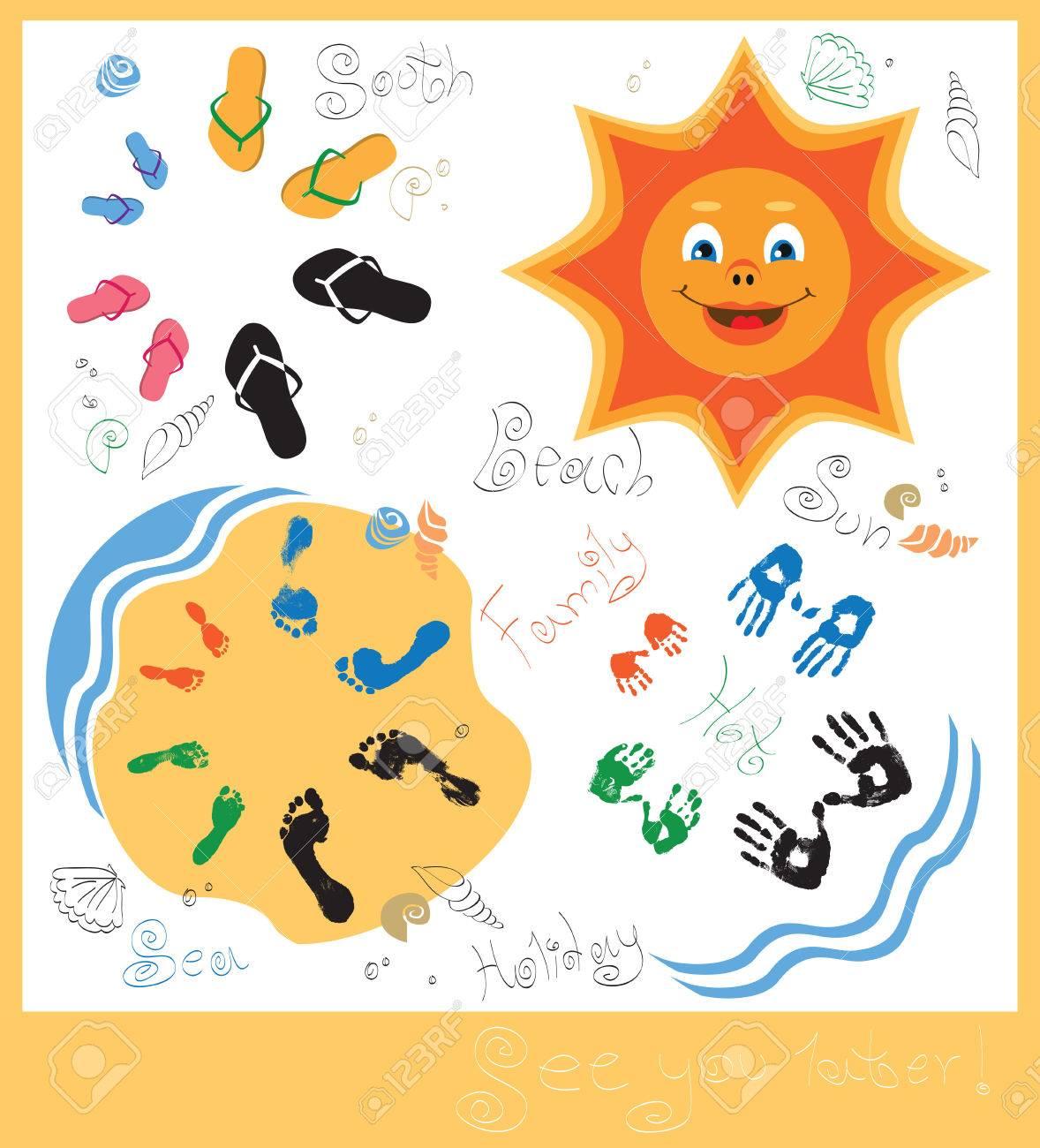 Karte Mit Fingerabdrucken Von Den Handen Und Fussen Und Strand