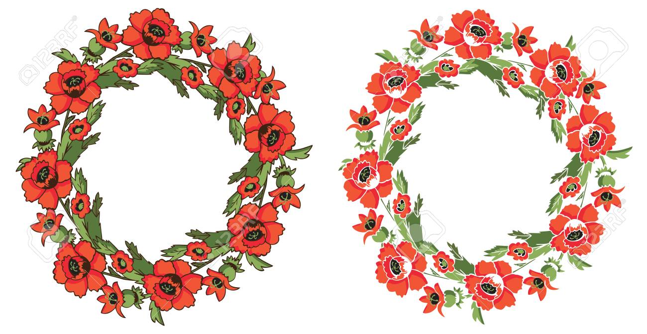 00cdbdb6edbc Banco de Imagens - illustration of floral frame with a wreath of red  poppies on a white background