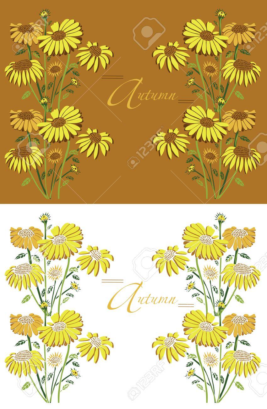 ひまわり秋の黄色と白のフレームのイラスト ロイヤリティフリークリップ