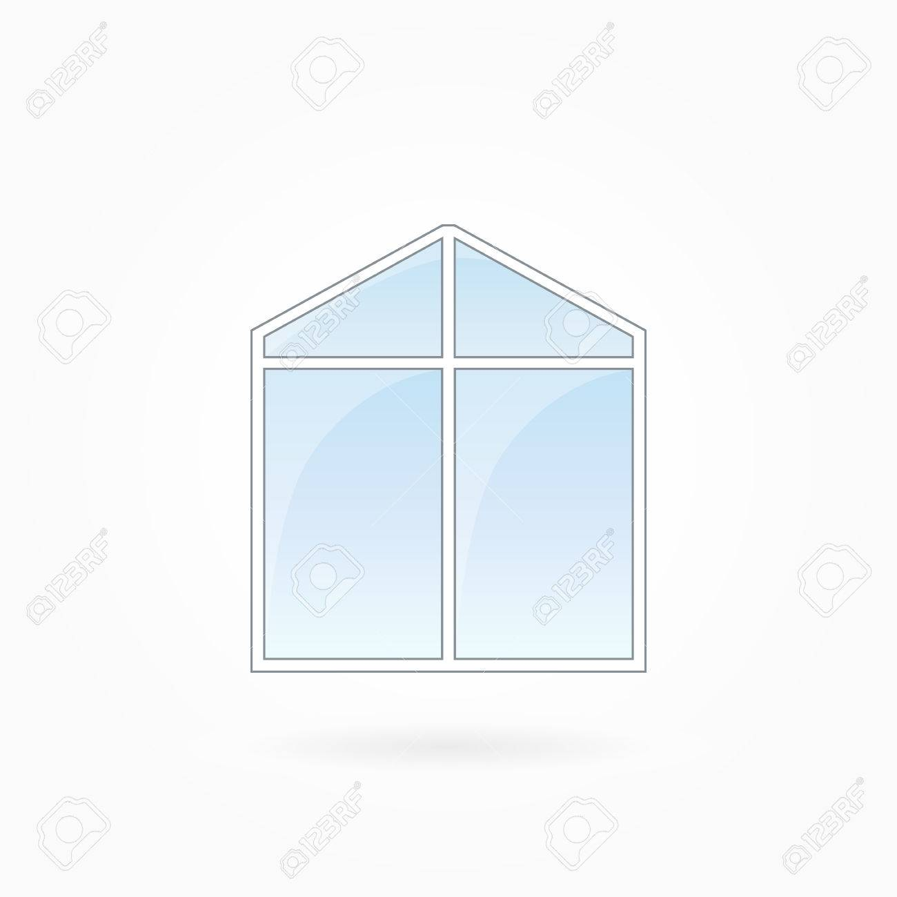Window Frame Vector Illustration, Double Modern Window With ...