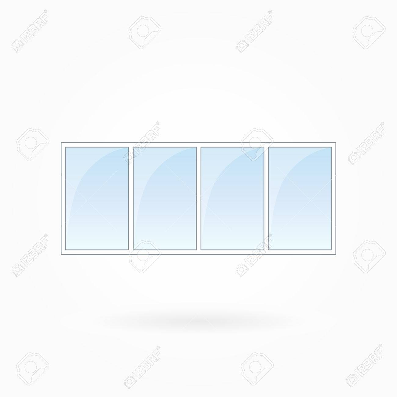 Window Frame Vector Illustration, Quadruple Closed Modern Windows ...
