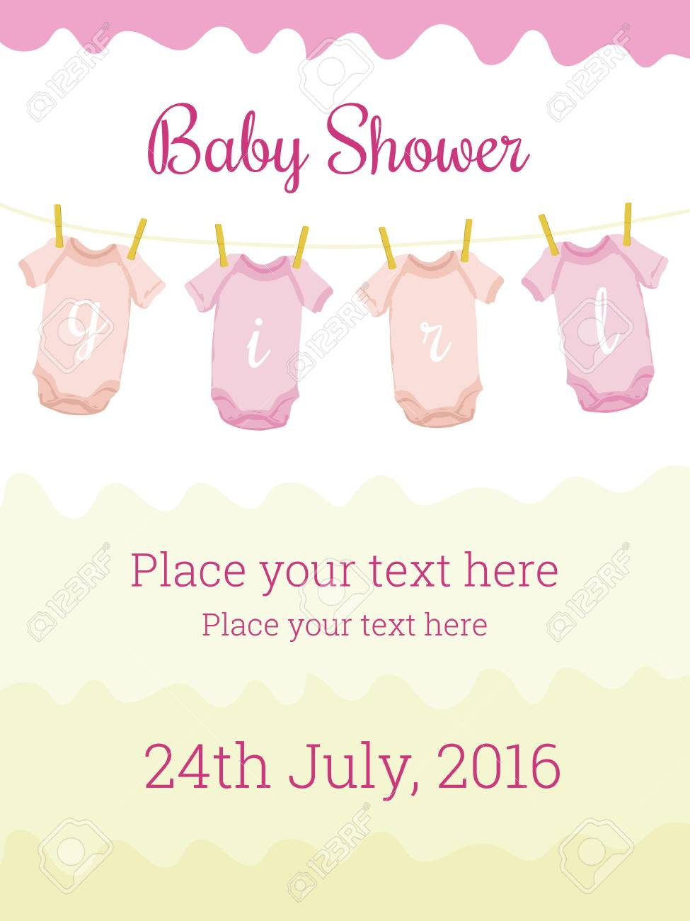 Baby Shower Invitation Card Template For Baby Girl Cute Design