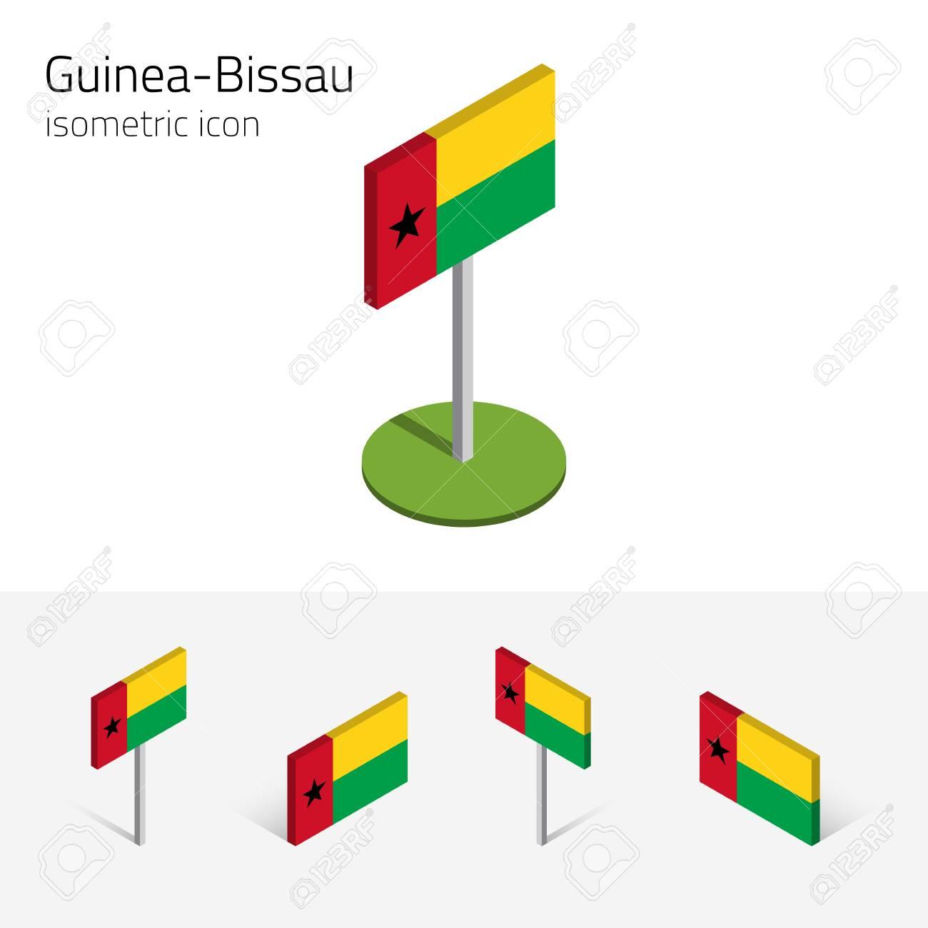 republic of guinea bissau flag vector set of isometric flat