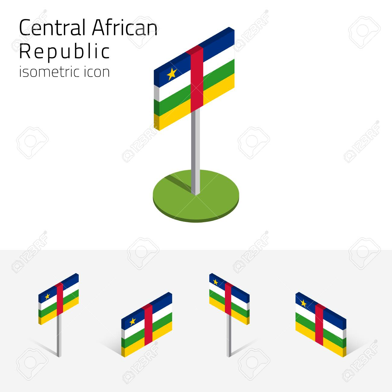 central african republic flag car vector set of isometric