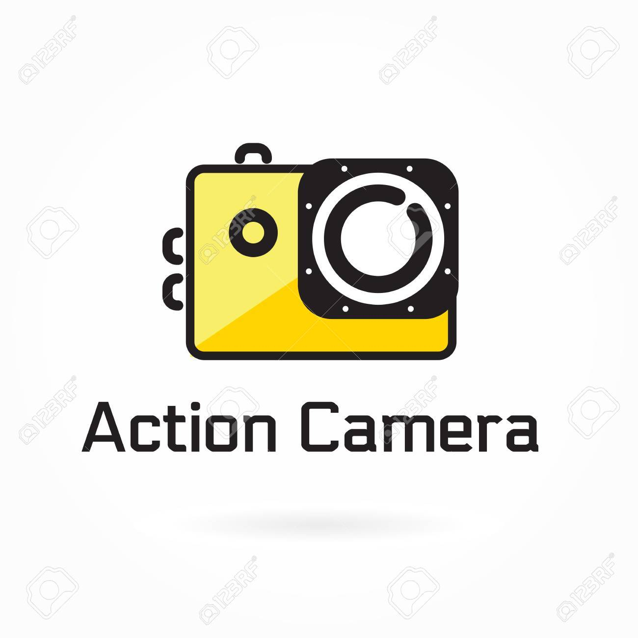 Action camera icon, vector illustration, colorful logo template,