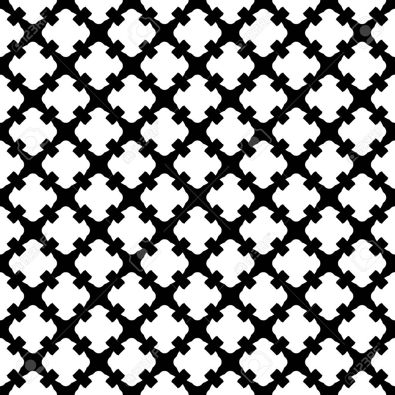 Simple Black White Geometric Texture Endless Ornamental Background Retro Gothic Style Symmetric Square Abstract Backdrop Repeat Tiles Design Element