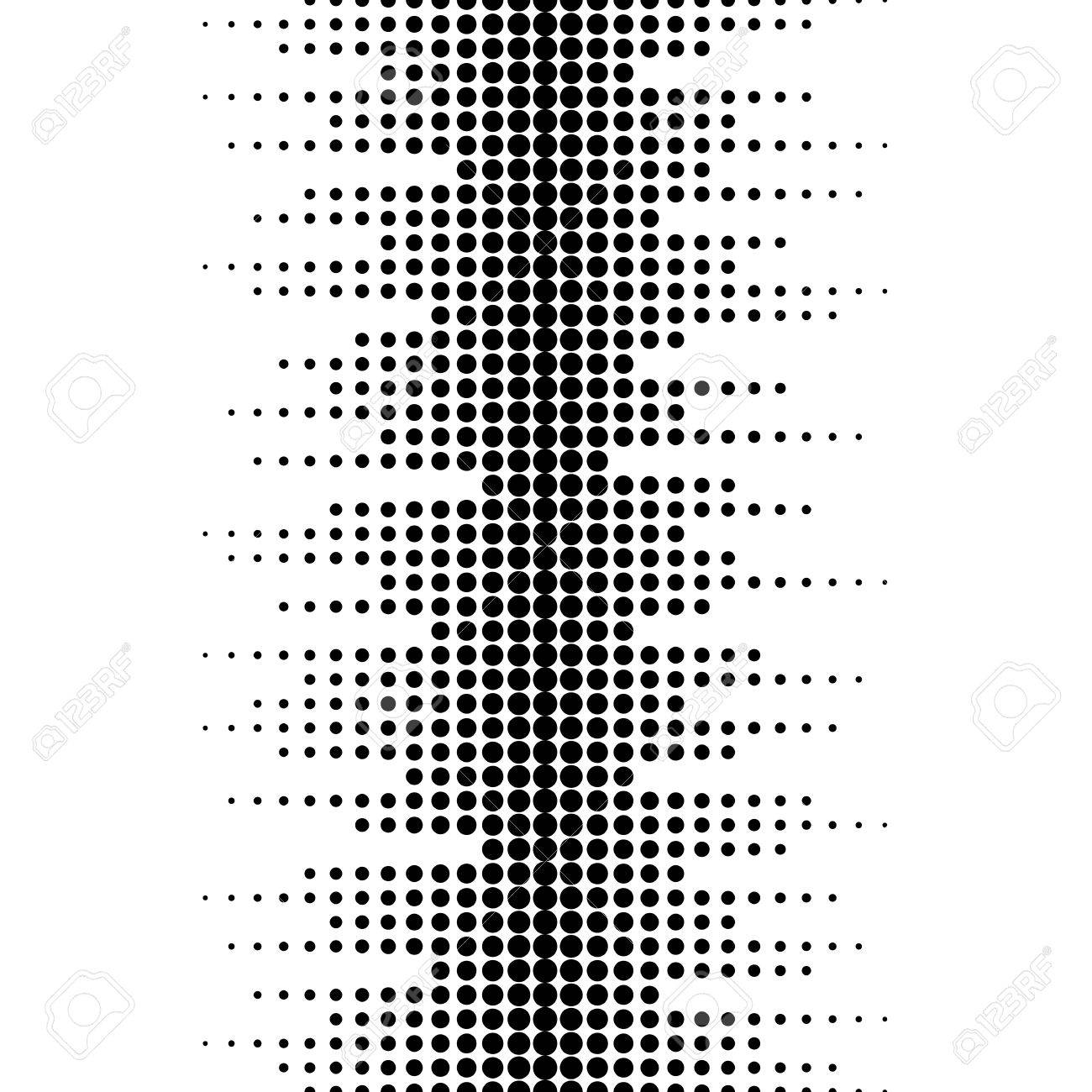 Vector monochrome seamless pattern. Dynamic visual effect, background with different sized dots. Black & white. Illustration of sound waves. Geometric texture for prints, digital, cover, decor, web - 77974871