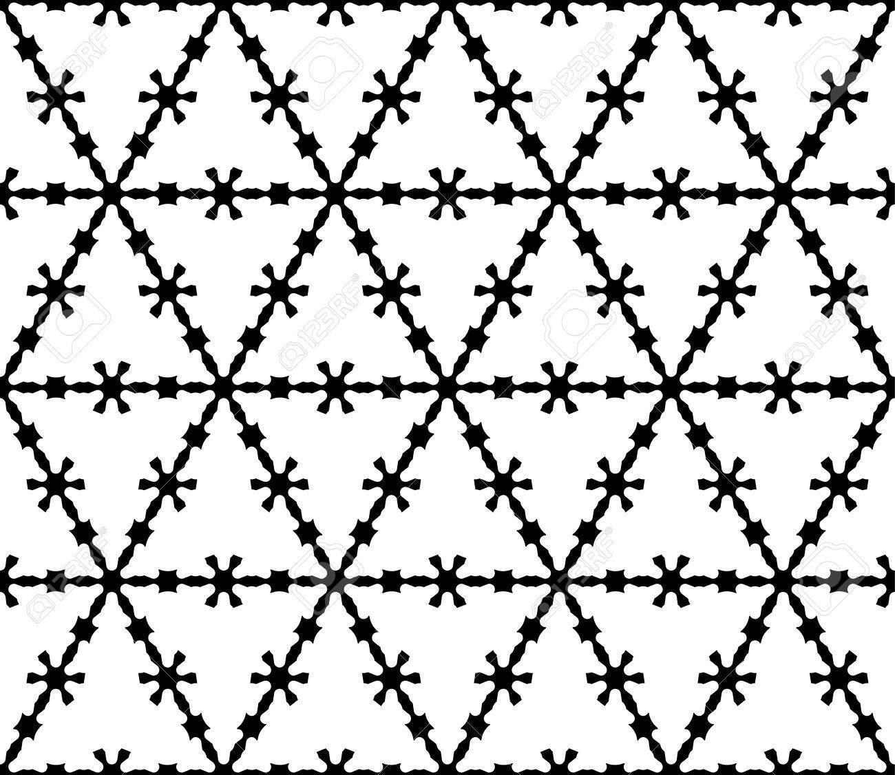 Vector Monochrome Texture, Black & White Geometric Seamless Pattern ...