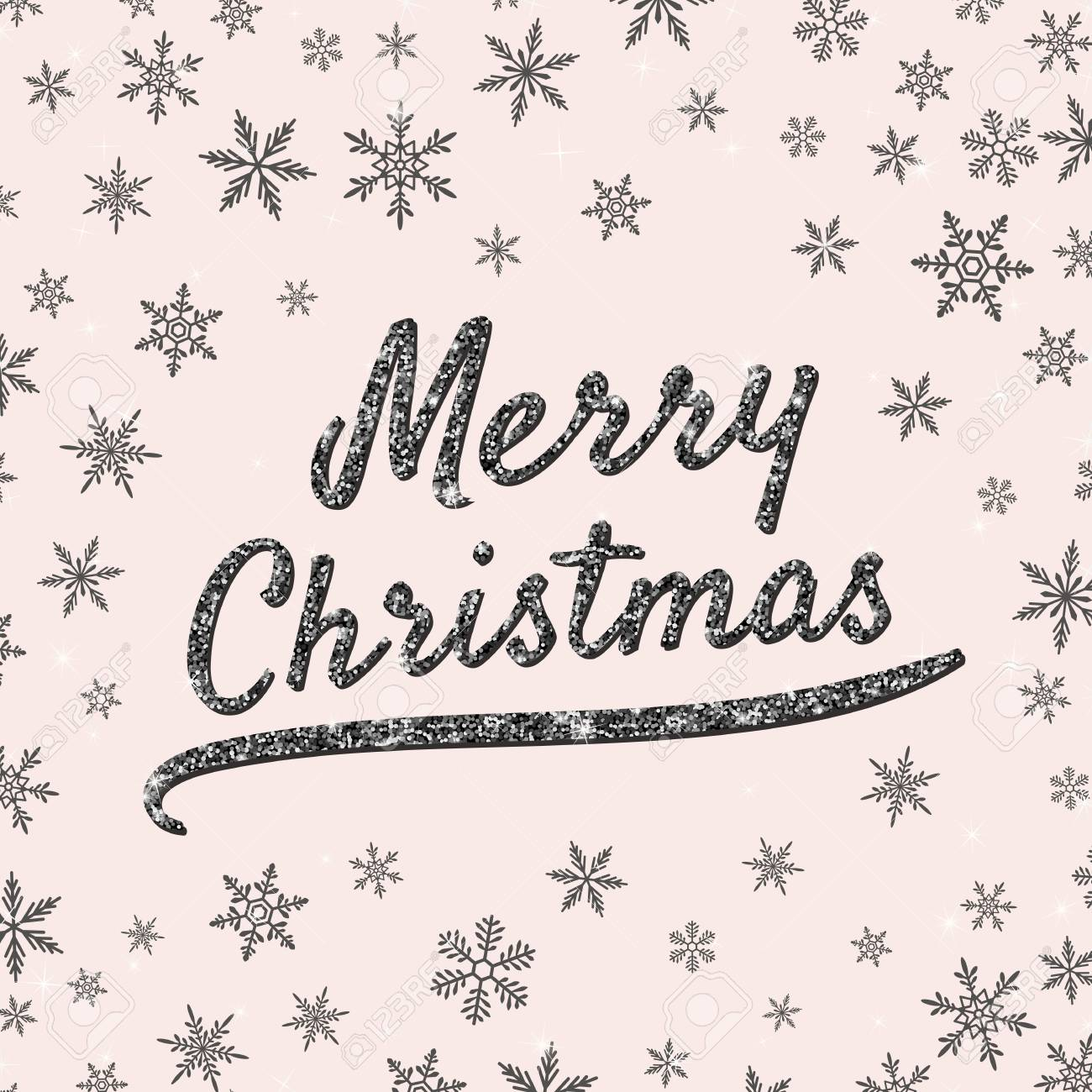 merry christmas greeting card with typographic text shiny black