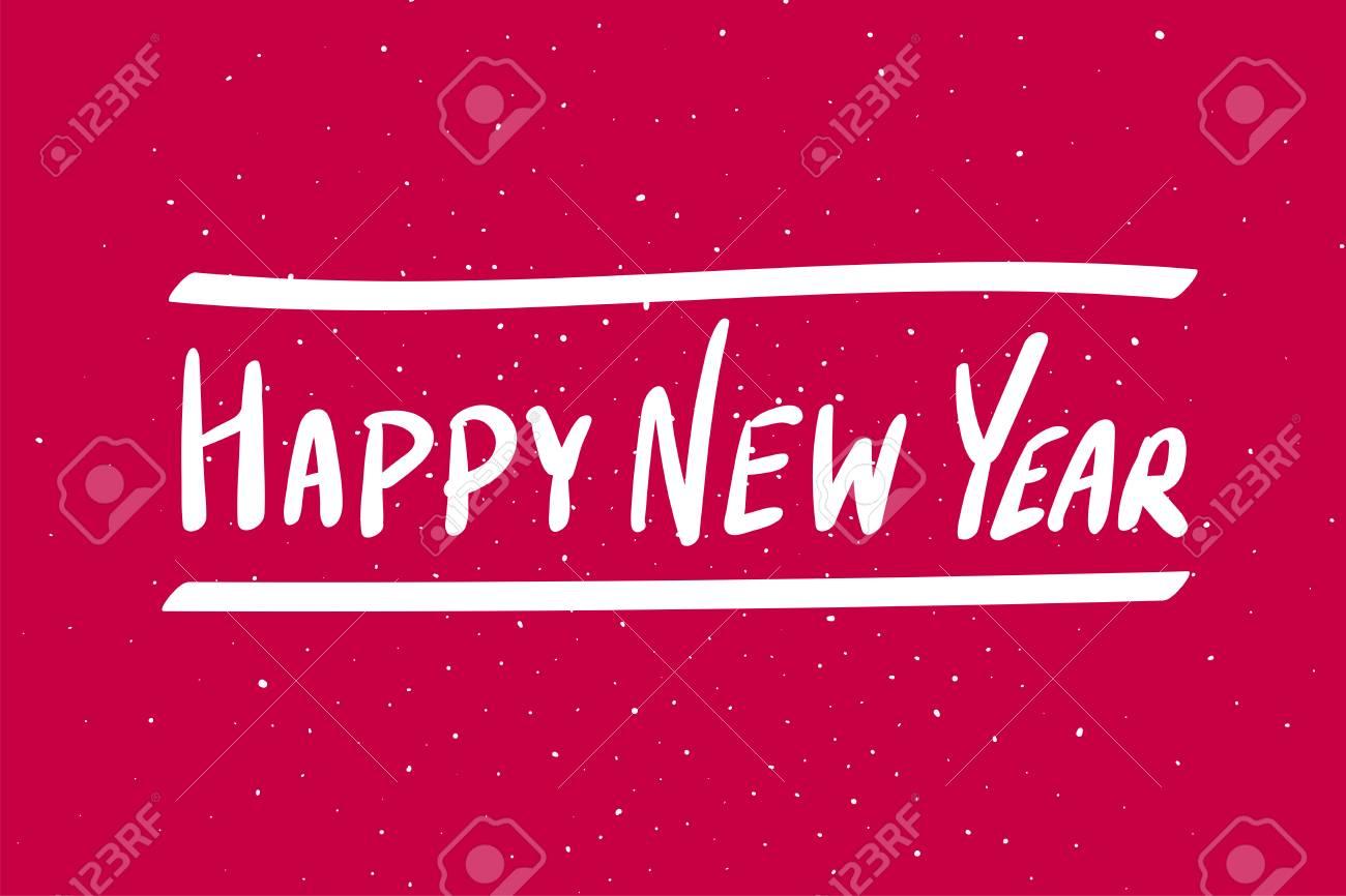 Feliz Ano Novo Frase De Caligrafia Texto Branco Sobre Fundo Vermelho Vetorial Mão Ilustrações Desenhadas Letras Manuscritas Modernas Elegantes Para