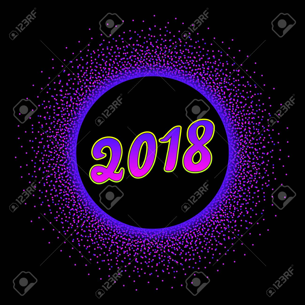 happy new year 2018 greeting card design template with bright text number in glowing neon circle
