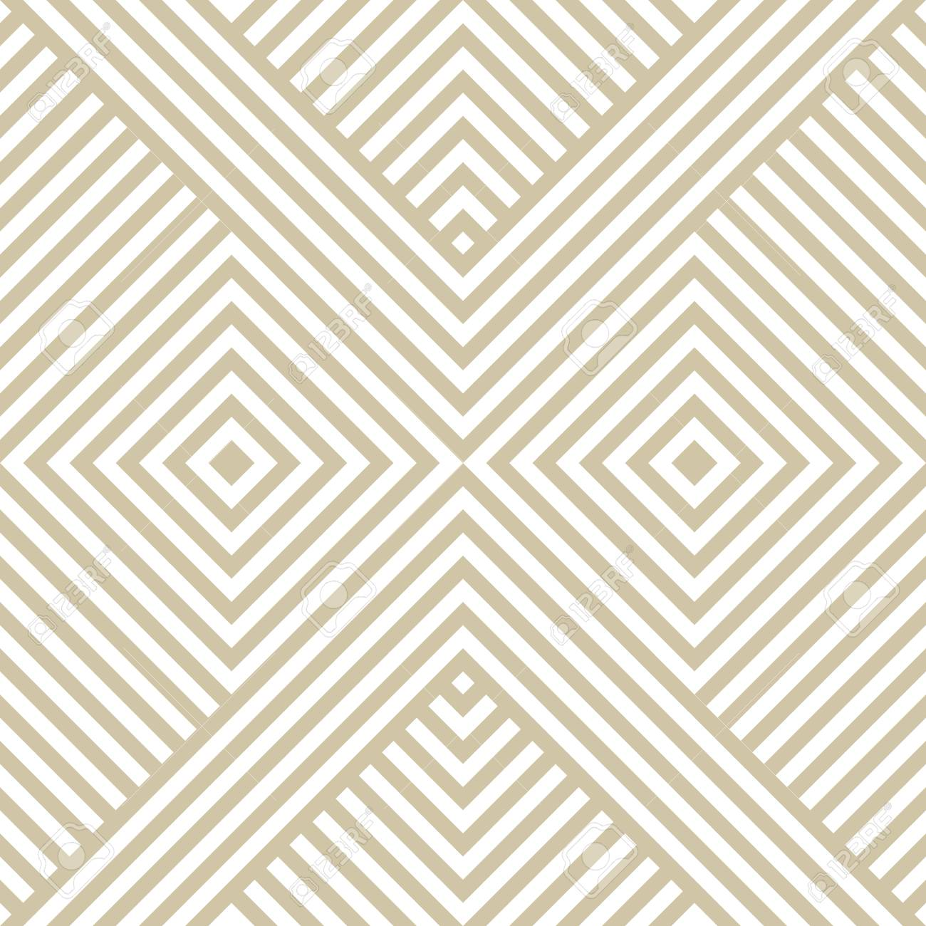 Vector Golden Geometric Lines Pattern Luxury Linear Background With Diagonal Stripes Squares Chevron Abstract White And Beige Seamless Texture Modern Ornamental Design For Decor Prints Carpet Royalty Free Cliparts Vectors And Stock