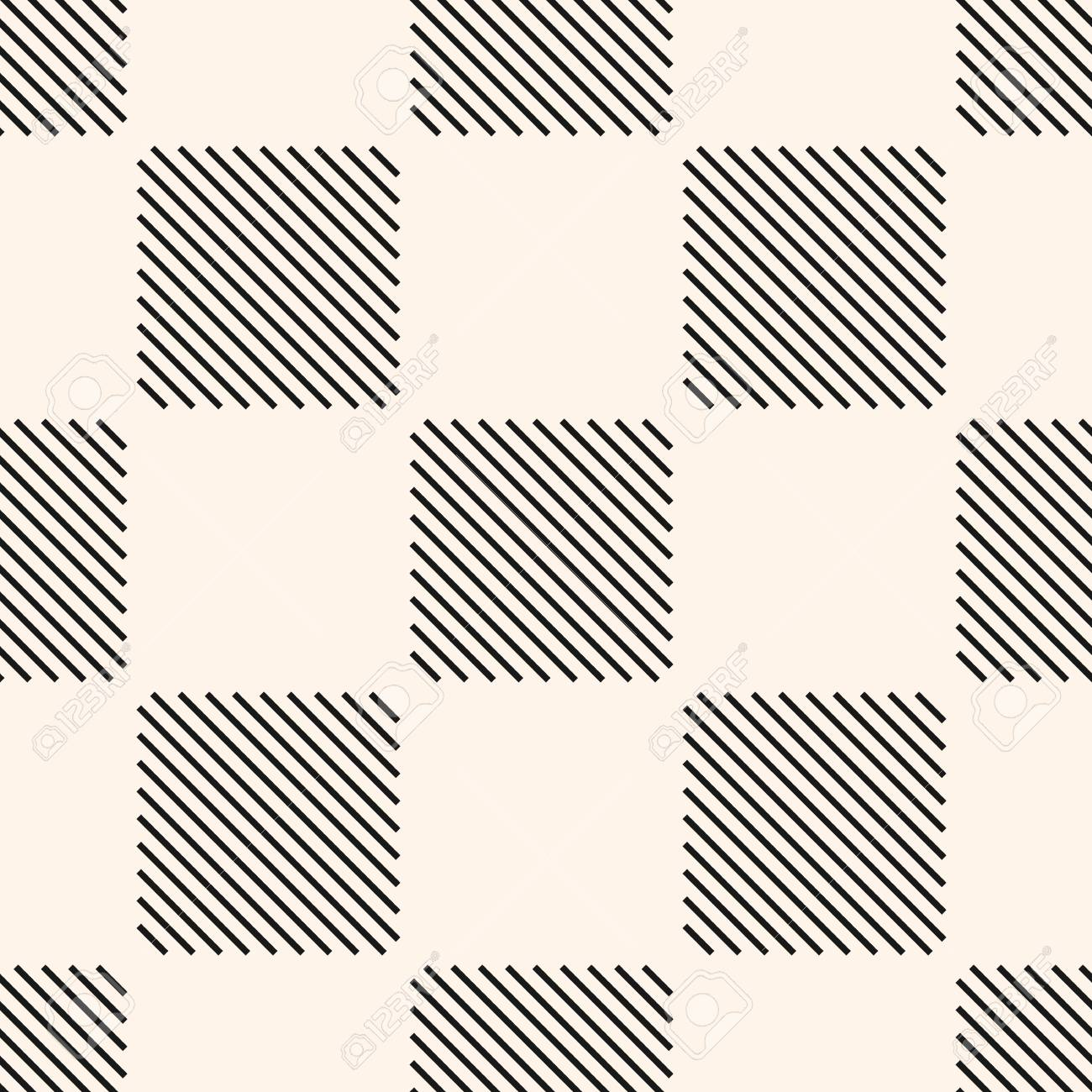 Vector geometric seamless pattern with stripes, thin diagonal