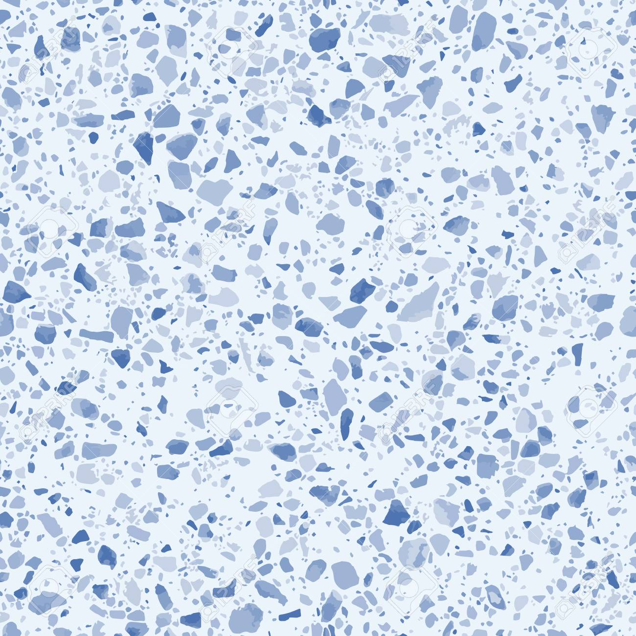 Blue terrazzo flooring seamless pattern  Vector texture of mosaic