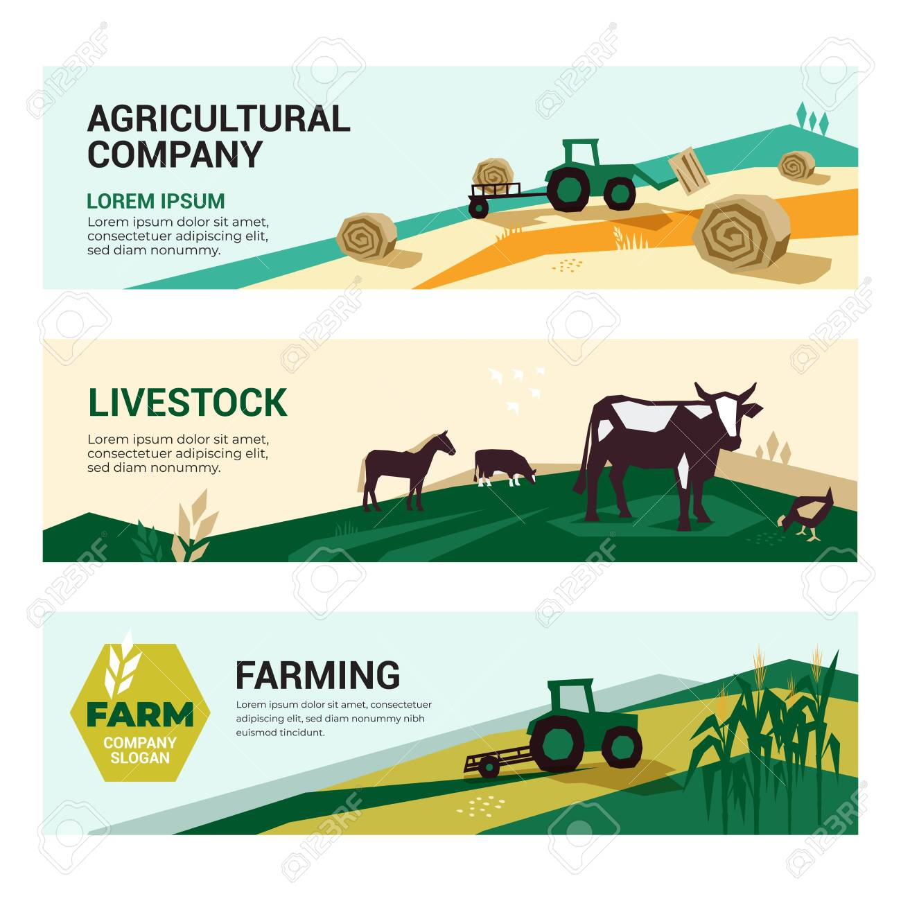 Set Of Illustrations With Agriculture Farming Livestock Harvest Royalty Free Cliparts Vectors And Stock Illustration Image 129133648