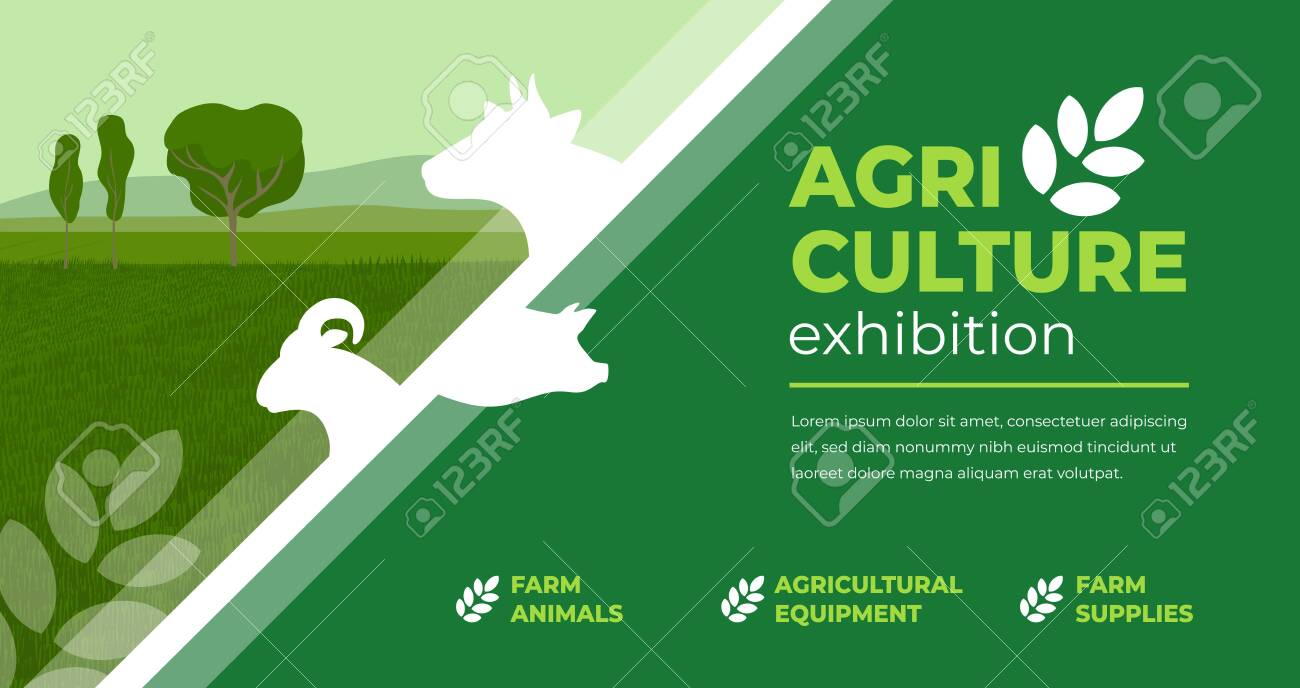 Design concept for agriculture exhibition, fair. Identity for farm animals show, livestock, agro conference. Vector illustration with sign of cow, pig, ram. Template for flyer, poster, banner, ticket - 140873183